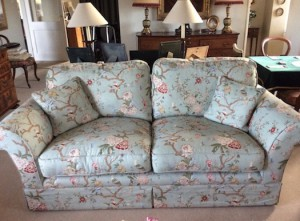 Sofa with removable covers in floral fabric