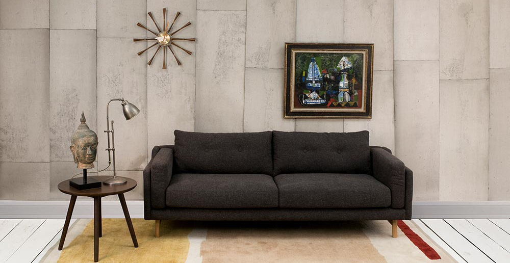 large grey wool cheap 2 seater sofa