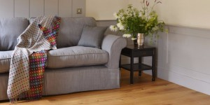 large loose covered grey linen sofa
