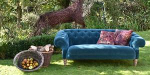 Large teal blue velvet chesterfield sofa