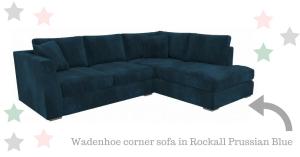 wadenhoe large velvet corner sofa