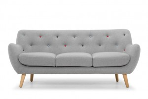 kennington retro sofa grey wool with contrasting buttons