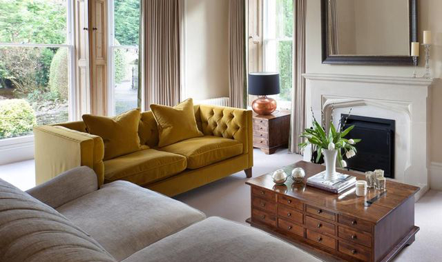 yellow velvet chesterfield sofa