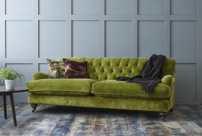 chiddingfold moss green crushed velvet sofa
