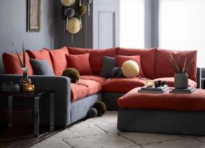 Sofas & Stuff - Big Softie straight arm large modular sofa in Romo Linara Rust and Gunmetal linen - Christmas lifestyle - Portrait