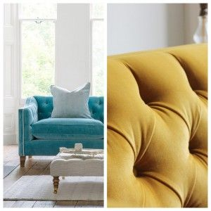 Close up of yellow Haresfield and Blue Haresfield sofa