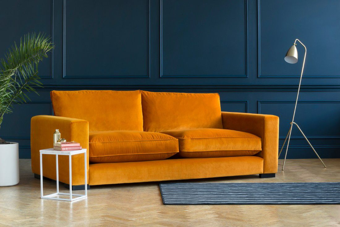 the Stourhead sofa in burnt orange colour