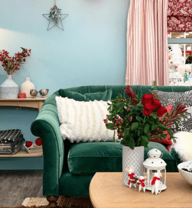 portland teal velvet sofa in christmas theme living room
