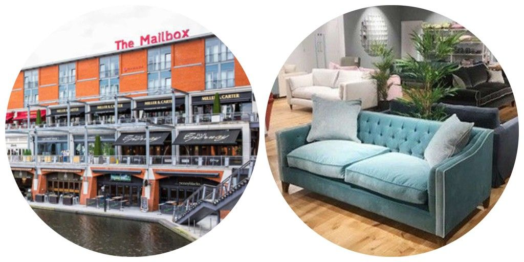 Collage of the Birmingham Mailbox and a photo of Sofas and Stuff Birmingham showroom