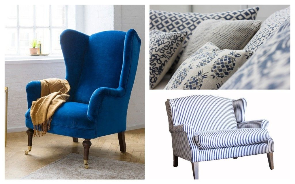 Collage of SOfas nad Stuff chairs in classic blue pantone 2020