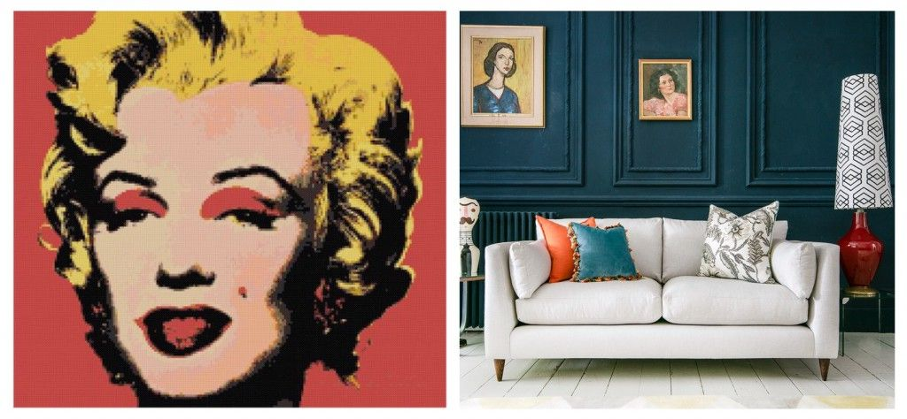 Collage of Sofas & Stuff Saltdean sofa and Warhol Marilyn Monroe print