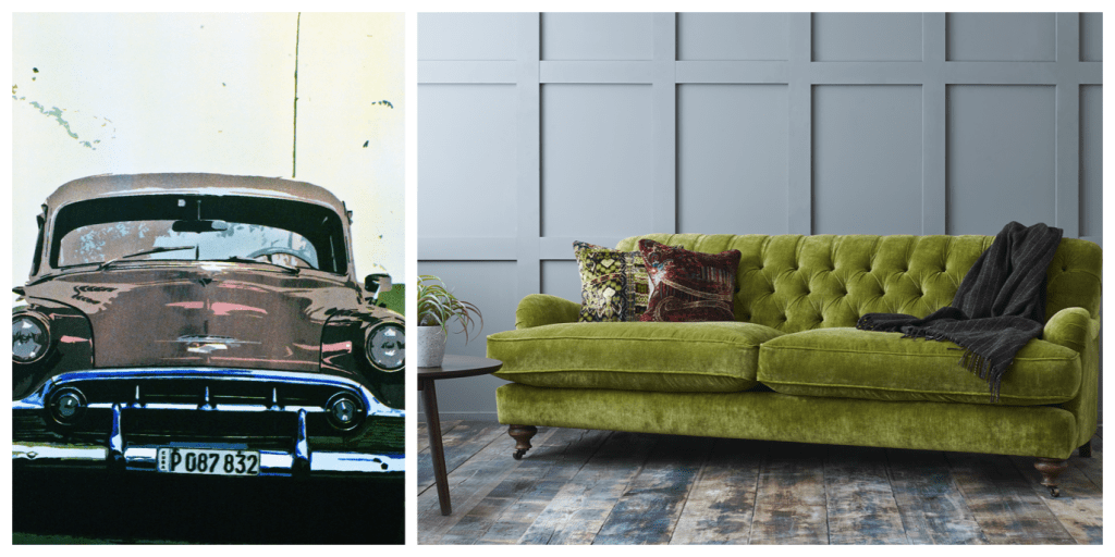 Screen print of a Cuban car by Robin Ross and photo of Sofas & Stuff Chiddingfold sofa