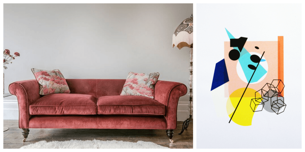 collage of clavering sofa and abstract print