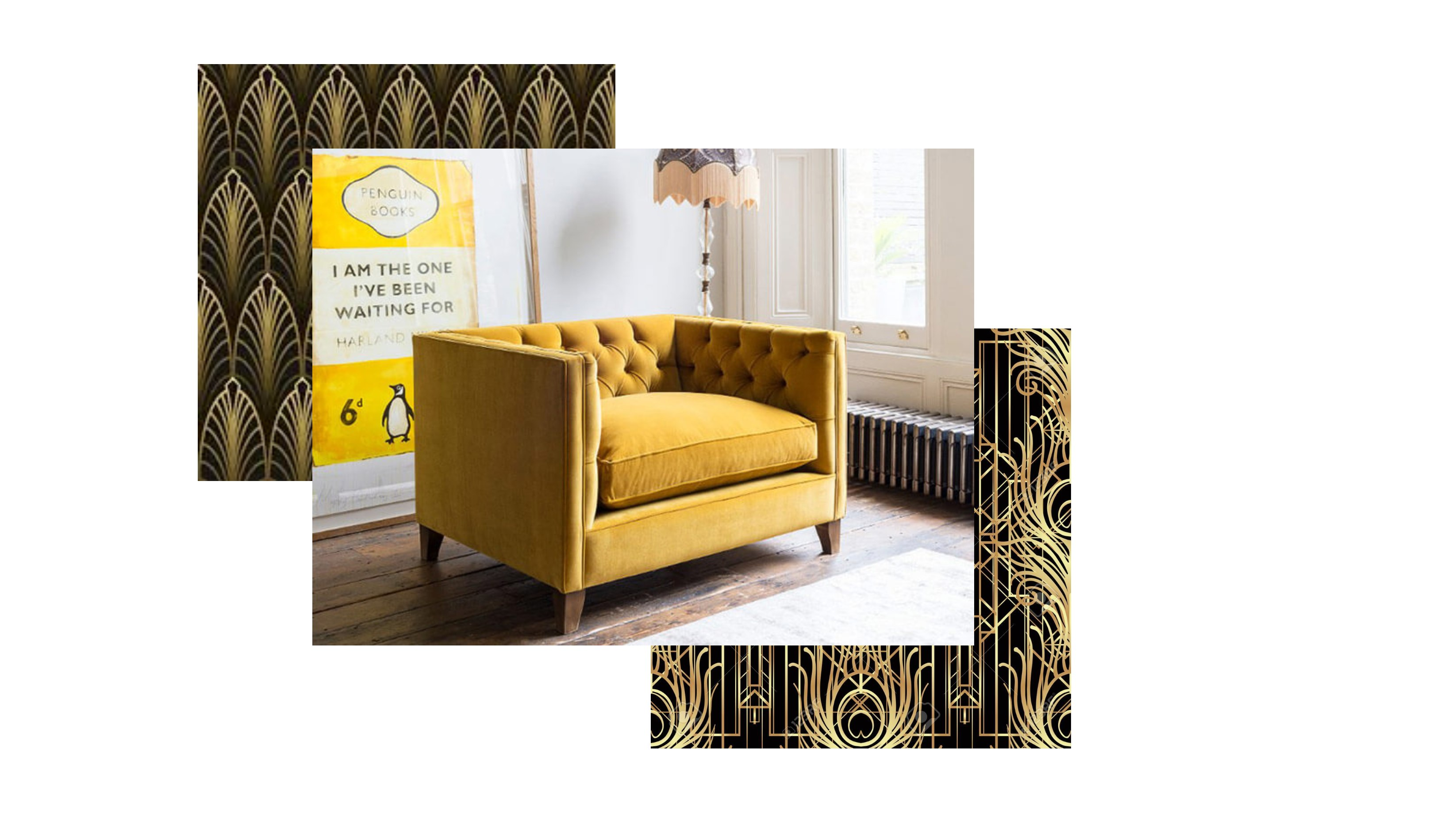 The Haresfield Snuggler in mustard yellow velvet and two art deco patterns