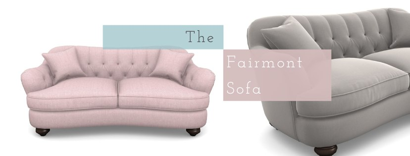 A pink and grey fiarmont sofa with text over the top