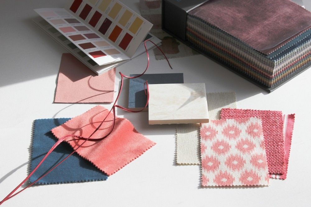 Flat lay of fabric samples to customise your Sofas & Stuff sofa with any fabric in the world