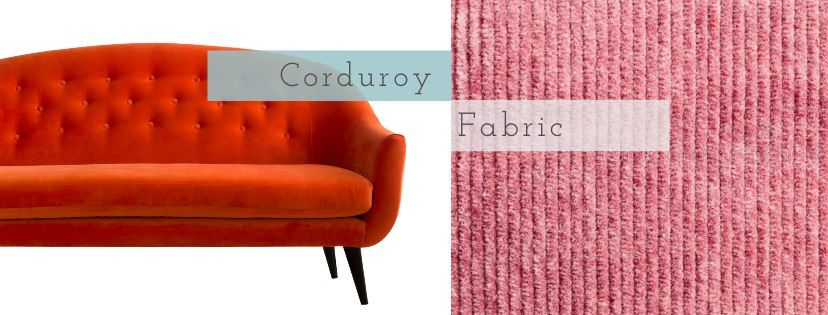 orange Finsbury sofa and image of pink corduroy close up