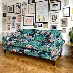 Amy's bespoke Waverley sofa in Linwood 'On The River Aqua' fabric