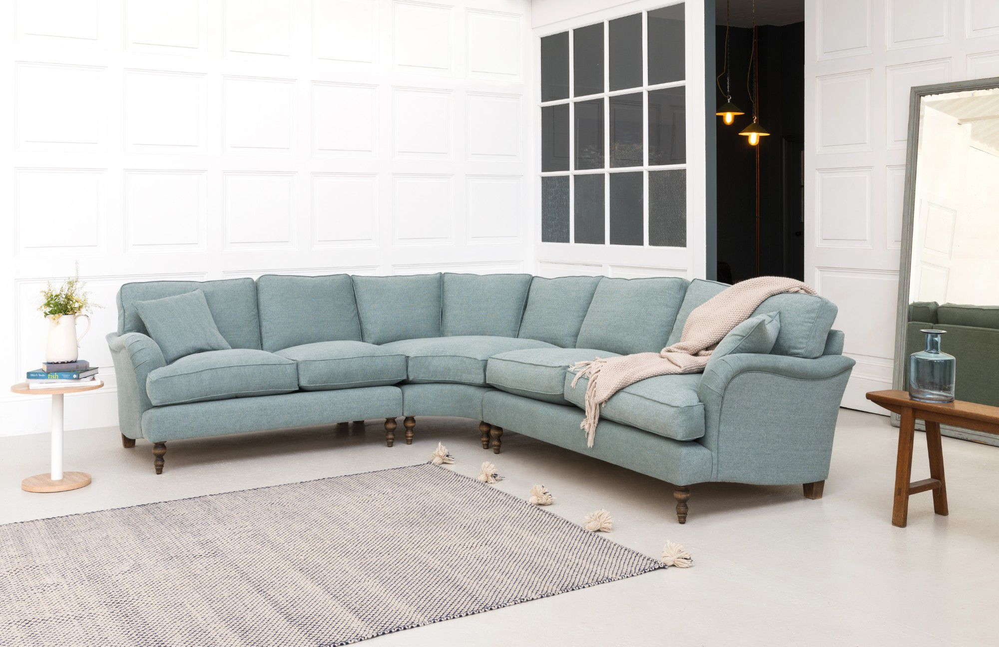 Alwinton corner sofa in Linwood Delta Azure