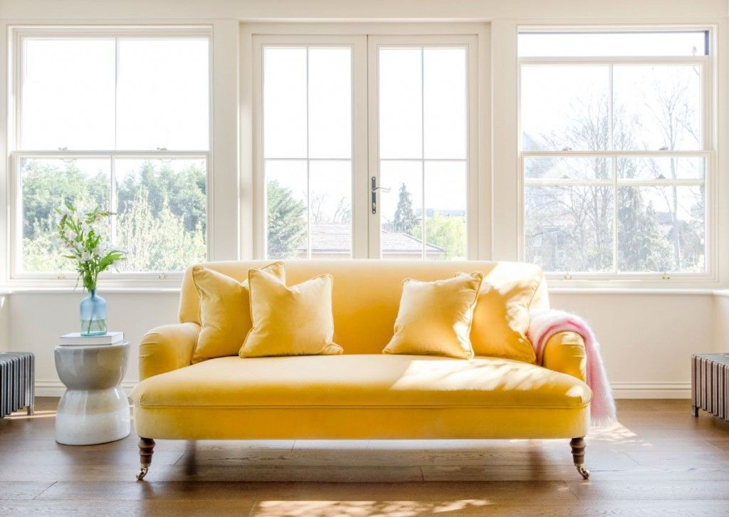 Filled with vibrant, illuminating pigments, yellow can instantly make any interior feel rejuvenated, uplifting and joyful. Featuring the Holmfirth 2.5 seater sofa in Varese Primrose