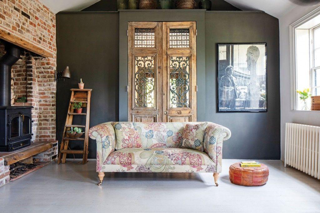 Sofas & Stuff British made sofa. Brighton 2 seater sofa in Floral Linen Carcassonne