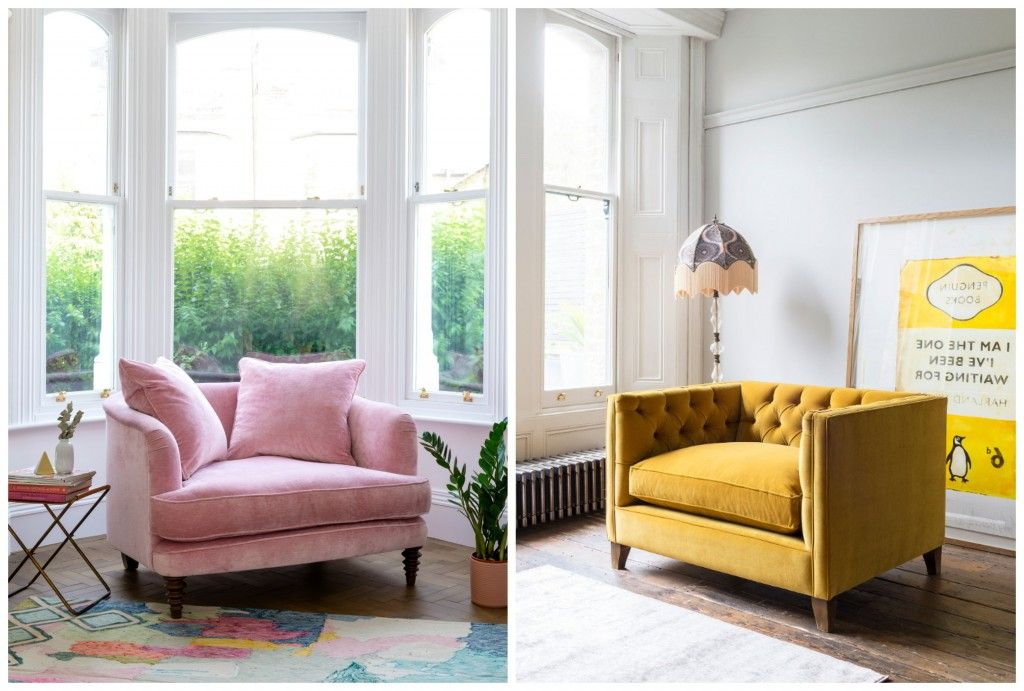 Featuring the British made Helmsley snuggler in Mossop Old Rose, and the Haresfield snuggler in Portland Velvet Brass
