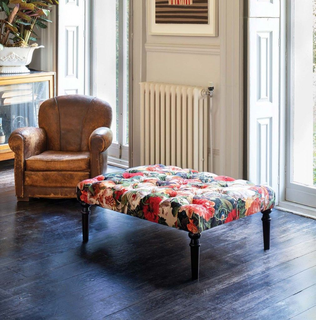 Featuring the British made Pentlow footstool in Mulberry Pompadour Floral Velvet Spice