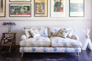 Alwinton 3 seater sofa in Floral Linen Fabric - Lela Mystery Indigo