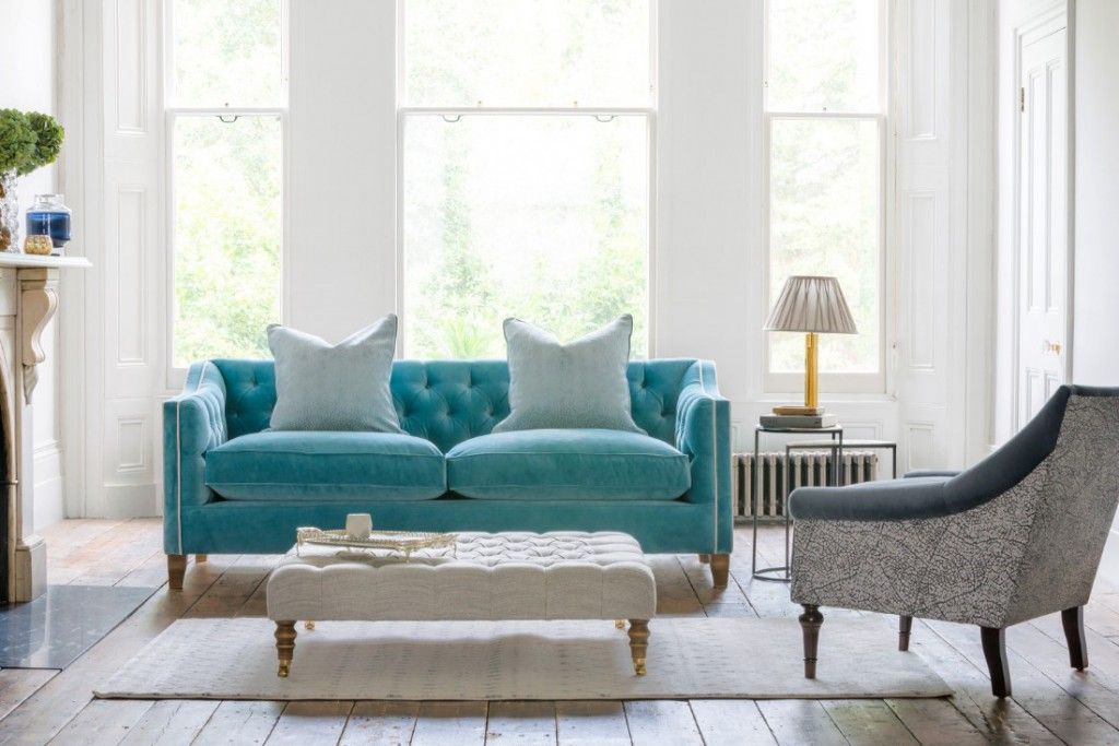 Haresfield sofa in Omega Airforce with contrast piping