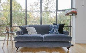 Hampton 3 seater velvet sofa in Napoli Varese Granite